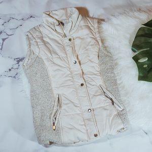 Zara cream sweater puffer vest